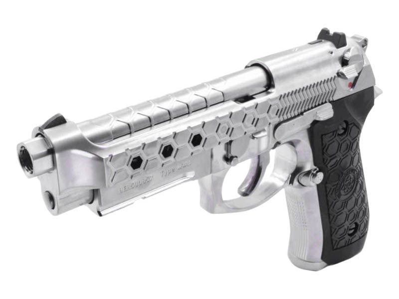 WE M92 Hex Cut Silver Full Metal Gaz Blowback avec rail