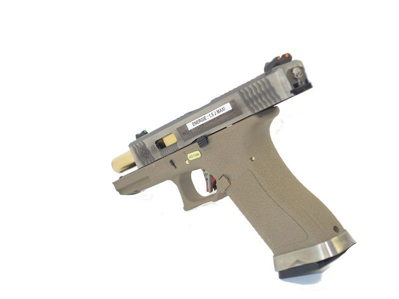 WE S17 G-FORCE T4 METAL ET NYLON BLOWBACK ARGENT/OR/TAN