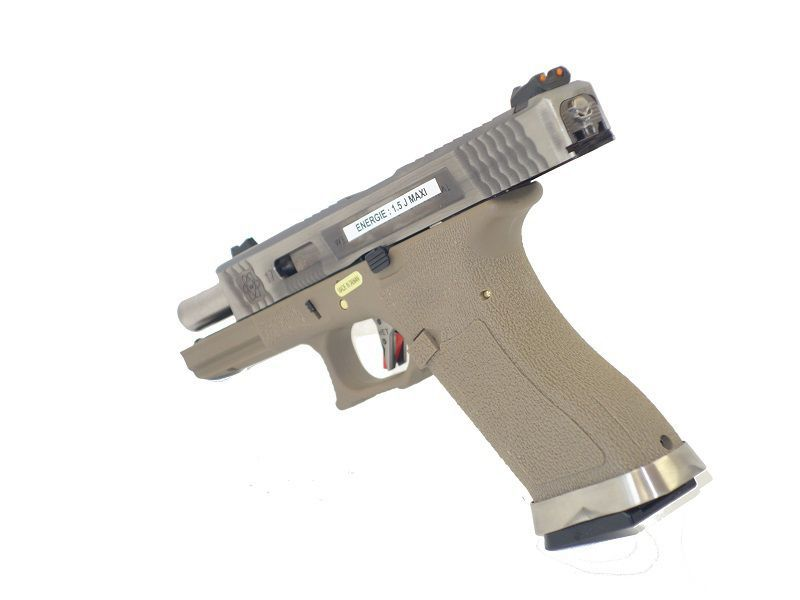 WE S17 G-FORCE T8 METAL ET NYLON BLOWBACK ARGENT/ARGENT/TAN